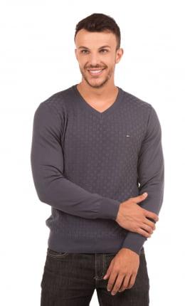 Suéter Masculino Quadrados Gola V 100% Algodão